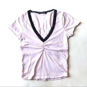 Brandy Melville Gina Lace V neck top pink OS